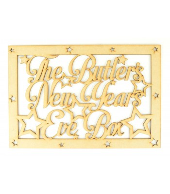 Laser Cut Personalised Surname 'New Years Eve Box' Large Frame Top with Script Font and Stars