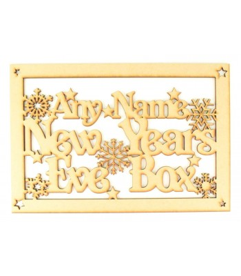 Laser Cut Personalised 'New Years Eve Box' Large Frame Top with Snowflakes and Stars