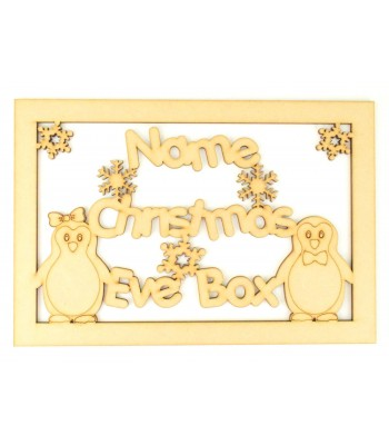 Laser Cut Personalised Penguin 'Christmas Eve Box' Large Frame Top