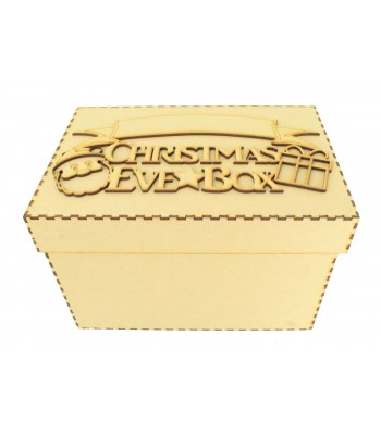 Laser cut 'Christmas Eve Box' Santa & Present Design with Blank Banner To Add Vinyl - Box Options