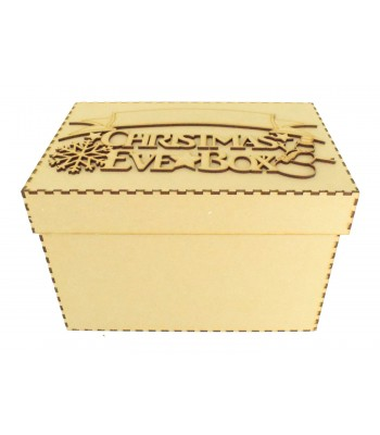 Laser cut 'Christmas Eve Box' Snowflake & Snowman Design with Blank Banner To Add Vinyl - Box Options