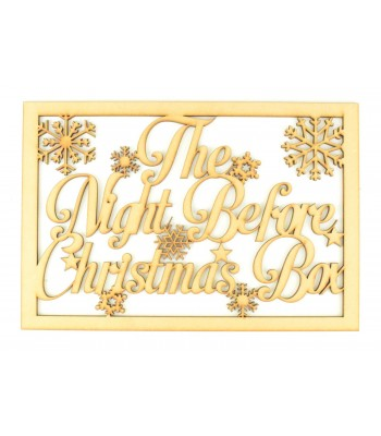 Laser Cut 'The Night Before Christmas Box' Large Christmas Box Frame Top - Script font with snowflakes & stars