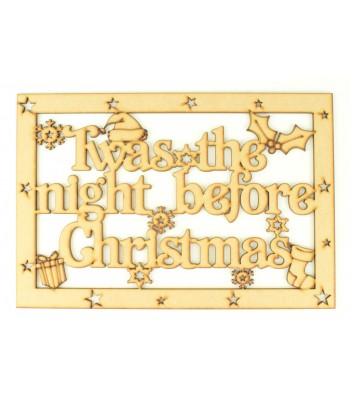 Laser Cut 'Twas The Night Before Christmas'  Large Christmas Box Frame Top