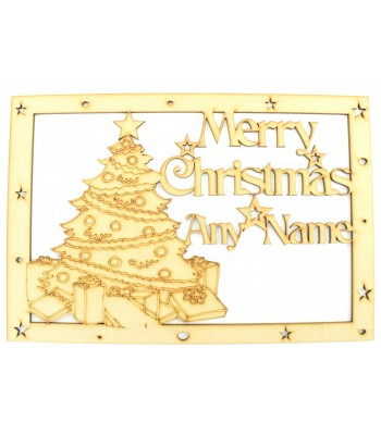 Laser Cut Personalised 'Merry Christmas'  Large Christmas Box Frame Top - Christmas Tree Design