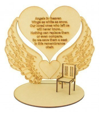 Laser Cut 'Angels in heaven, Wings as white as snow.' Angel Wings Plaque on a Stand with Miniature Chair