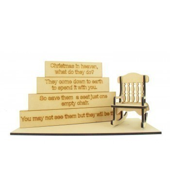 18mm Stacking Blocks with Laser Cut Rocking Chair, Base and 'Christmas in Heaven' Wording Plaques Bulk Buy