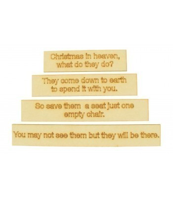 Laser Cut 'Christmas in Heaven' Wording Plaques Only - Set of 4
