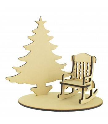 Laser Cut Plain Christmas Tree with Rocking chair and Base Set