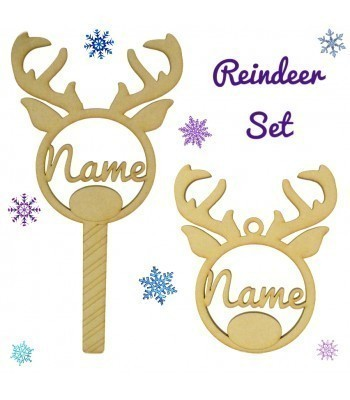 Laser Cut Personalised Reindeer Head Christmas Bauble and Wand Gift Set - Options