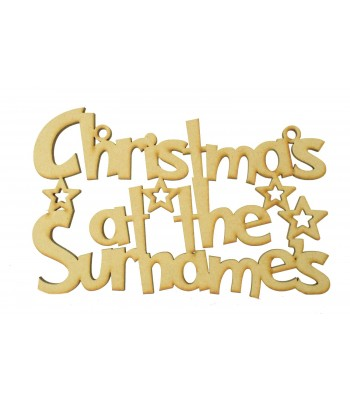 Laser Cut Personalised 'Christmas At The...' Grinch Font Sign with Stars - 200mm Size