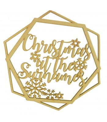 Laser Cut Personalised 'Christmas At The...' Wall Art Hexagon Hoop with Snowflakes