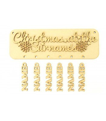 Laser Cut Personalised 'Christmas At The...' 3D Plaque with Hanging Names