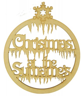 Laser Cut Personalised 'Christmas At The...' Snowflake Bauble Design