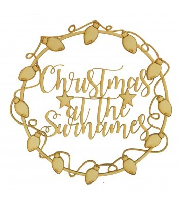 Laser Cut Personalised 'Christmas At The...' Wall Art Hoop with Christmas Lights