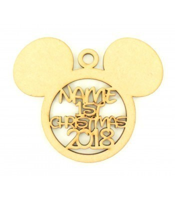 Laser Cut Personalised '1st Christmas' with Year Mouse Head Bauble - 120mm Size