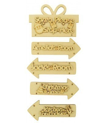 Laser Cut Personalised 'Santa Please Stop Here' Present Sign with Hanging Arrows