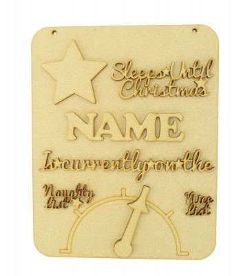 Laser Cut Personalised 'Sleeps Until Christmas' Countdown Sign with Moving Arrow Naughty or Nice List - All 3D