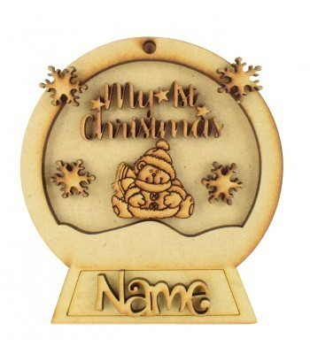 Laser Cut Personalised 3D Snowglobe Christmas Bauble - 100mm Size - 'My 1st Christmas'