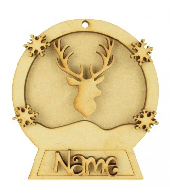 Laser Cut Personalised 3D Snowglobe Christmas Bauble - 100mm Size - Stag Head