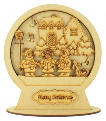 Laser Cut 3D Detailed Layered Snow Globe on a Stand - Carol Singers