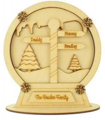 Laser Cut Personalised 3D Detailed Layered Snow Globe on a Stand - North Pole