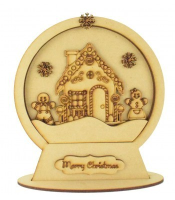 Laser Cut 3D Detailed Layered Snow Globe on a Stand - Gingerbread House