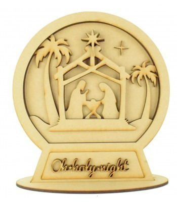 Laser Cut 3D Detailed Layered Snow Globe on a Stand - 'Oh Holy Night' Nativity