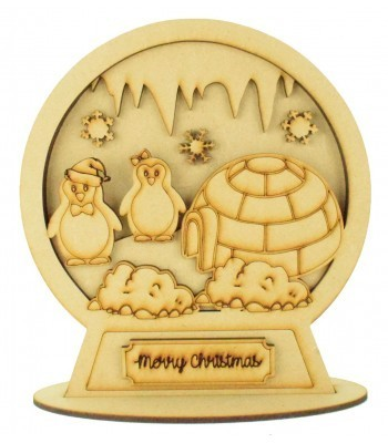 Laser Cut 3D Detailed Layered Snow Globe on a Stand - Penguins