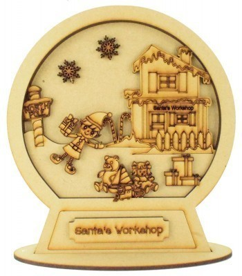 Laser Cut 3D Detailed Layered Snow Globe on a Stand - Santas Workshop