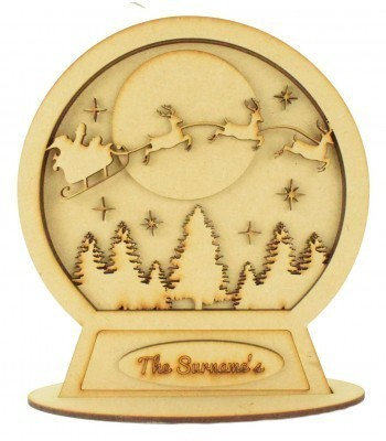 Laser Cut Personalised 3D Detailed Layered Snow Globe on a Stand - Flying Sleigh with Reindeer