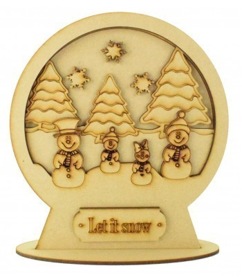 Laser Cut 3D Detailed Layered Snow Globe on a Stand - Snowman Family