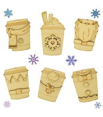 Laser Cut Christmas Coffee Cup Decorations - Options Available
