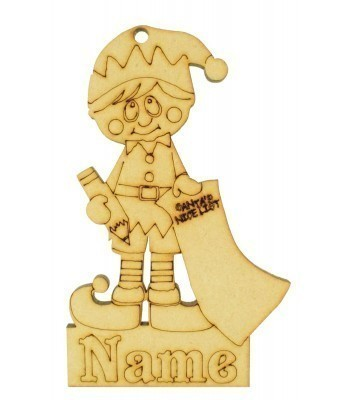 Laser Cut Personalised Christmas Elf Boy Decoration - 120mm Size