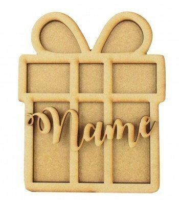 18mm Freestanding Present Shape with 3D Laser Cut Frame & Name
