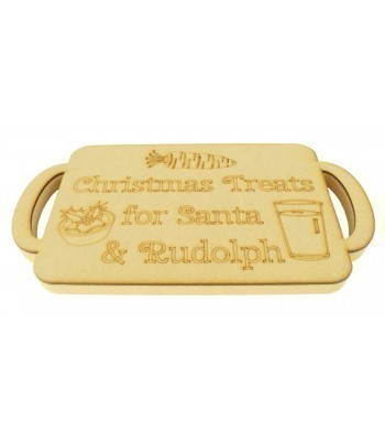 18mm Router Cut MDF 'Christmas Treats for Santa & Rudolph' Christmas Eve Tray with Laser Panel