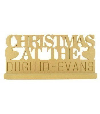 18mm Freestanding Personalised `Christmas At The...` Sign with Hearts on a Stand with Engraved Surname