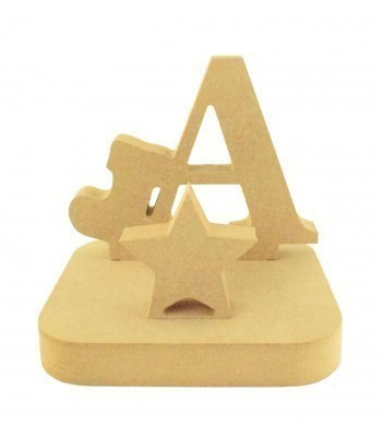 18mm Freestanding MDF Christmas Stocking Hanger/Holder - Letter with Stocking Shape