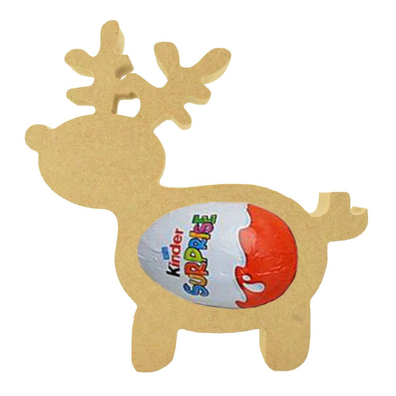 Reindeer PACK OF 5-18mm MDF Kinder Egg Holder Freestanding Christmas NEW Shape