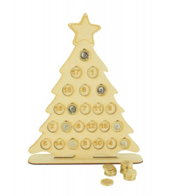 Laser Cut Large Christmas Countdown Tree £1 Coin Holder on a Stand - To Hold £24 Coins