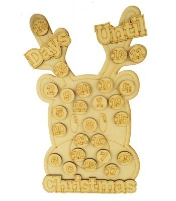 Laser Cut 3D 'Days Until Christmas' Countdown Advent Calendar with Seperate Tokens To Add Your Own Velcro - Reindeer Head