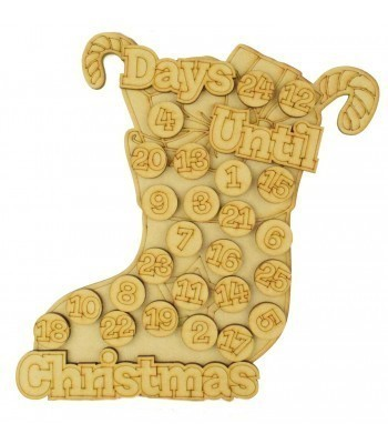 Laser Cut 3D 'Days Until Christmas' Countdown Advent Calendar with Seperate Tokens To Add Your Own Velcro - Stocking