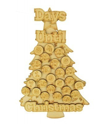 Laser Cut 3D 'Days Until Christmas' Countdown Advent Calendar with Seperate Tokens To Add Your Own Velcro - Christmas Tree