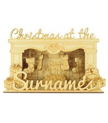 Laser Cut Personalised 'Christmas At The...' 3D Fireplace with Hanging Stockings