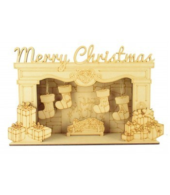 Laser Cut Personalised 'Merry Christmas' 3D Fireplace with Hanging Stockings