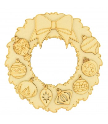 Laser Cut Christmas Wreath with 3D Bow and Bauble Shapes