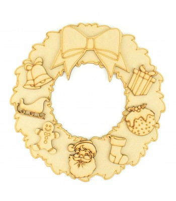Laser Cut Christmas Wreath with 3D Bow and Christmas Shapes