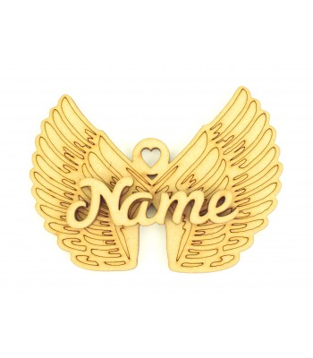 Laser Cut Personalised 3D Angel Wings Christmas Decoration - 100mm Size - Script Font