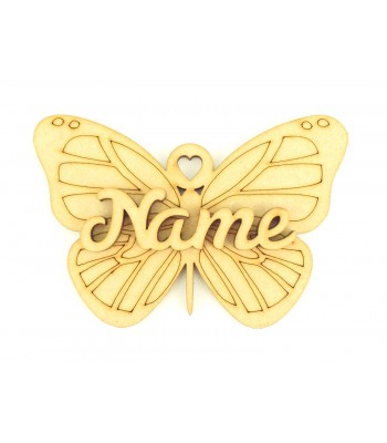 Laser Cut Personalised 3D Butterfly Christmas Decoration - 100mm Size - Script Font