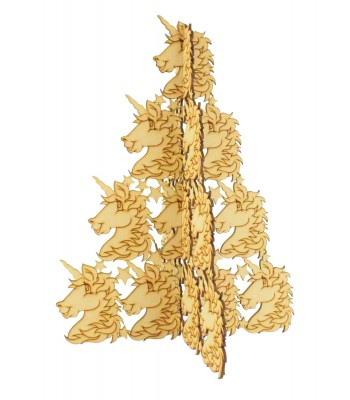 Laser Cut Freestanding Unicorn Head Christmas Tree