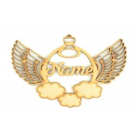 Laser Cut Personalised Detailed Angel Wings with etched Clouds Christmas Bauble - 150mm Size